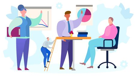 Business meeting worker in office, vector illustration. Man woman people character teamwork presentation for manager leader. Team discussion in flat company, cartoon group communication.