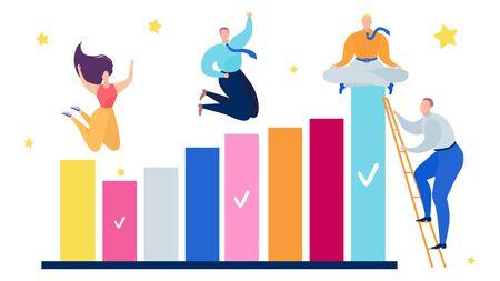 People business teamwork graph success concept, vector illustration. Businessman and woman team growth finance chart graphic. Financial progress, job career and flat goal achievement.