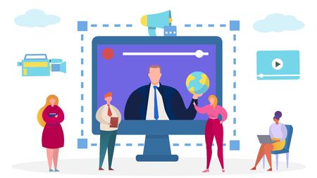 Business communication at computer, internet teleconference vector illustration. People character digital online team technology, woman man work meeting. Network at screen concept.