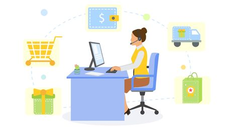 Online shopping service consultant office and cartoon workplace, vector illustration. Woman character work with computer at desk design. Assistant call center concept, support operator.