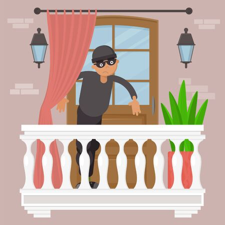 Theft technology, male person in black mask vector illustration.Thief gangster at balcony home exterior, urban lock breaking. Illegal dangerous robbery, flat burglar robber character. Stok Fotoğraf - 149502388