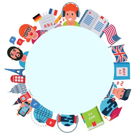 Language education conversation, vector illustration. People man woman character english communication concept. Speak foreign language, cartoon business translation and learning knowledge.