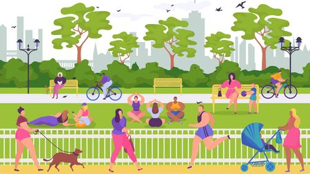 People have rest in park, vector illustration. Flat outdoor activity at nature, sport lifestyle with cartoon summer landscape. Woman man character walk, have picnic and sit at bench.