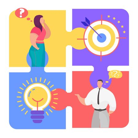 Business teamwork puzzle concept, vector illustration. Team man woman character goal and idea for success. Partnership communication, flat cooperation jigsaw design. Connect cartoon piece.