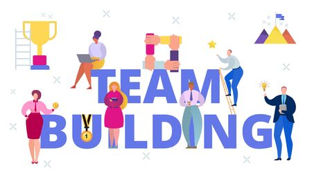 Business team building communication, vector illustration. People flat character near large sign symbol, cooperation teamwork banner. Collective community, group friendship concept.