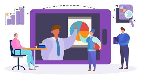 Business team internet video conference, vector illustration. Company analysis teamwork in computer, flat corporate network. Web communication online with leader, work employee meeting.