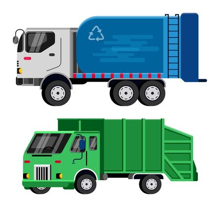 Garbage truck vector trash vehicle transportation illustration recycling waste clean service van car industry cleaning rubbish truck recycle container isolated on white background. Vecteurs