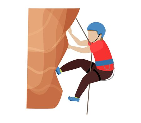 Kids climbing vector climber children character climbs rock mountain wall or mountainous cliff illustration mountaineering set of child in extreme sport mountaineer isolated on white background..