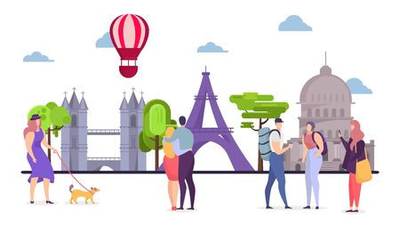 People at europe travel, man woman tourism vector illustration. Tourist at vacation trip walk, world tour at architecture sights. Cartoon traveler character at city summer european journey.