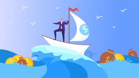 Business ship with man in sea, vector illustration. Businessman magaer character in boat look for money and cartoon success. Work to financial goal in banking career water, ocean concept. Ilustração