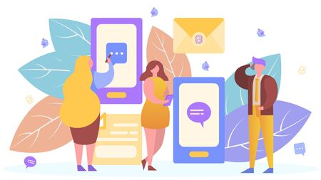 People in internet mobile communication technology, vector illustration. Message smartphone app, flat person man woman online chat concept. Telephone conversation in text, social chatting. Ilustração