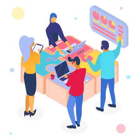 Business teamwork puzzle, isometric vector illustration. People team character work at web design for success. Flat solution together, infographic cartoon idea partnership in group.