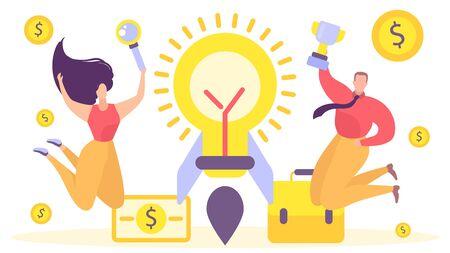 Business rocket work idea, vector illustration. Team project banner concept, creative people character make new startup. Cartoon businessman graphic innovation, success bulb design.