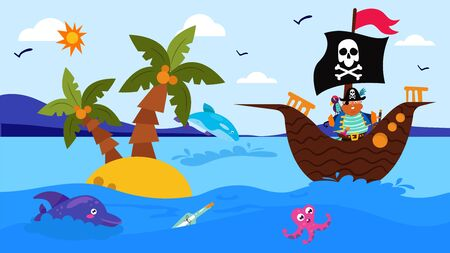 Pirate ship in cartoon sea with animal, vector illustration. Ocean marine adventure, captain look at fish character in blue water. Cute octopus and dolphin near little island with palm.
