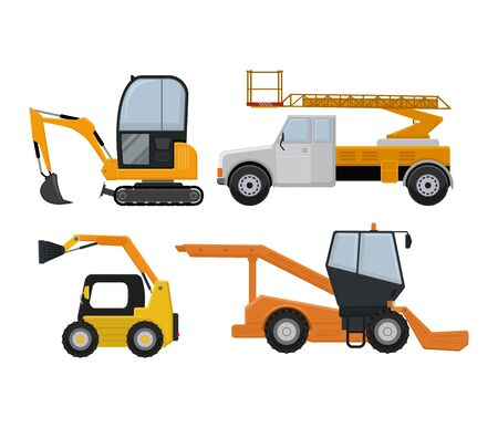 Road cleaning machine excavator tractor vector vehicle truck sweeper cleaner wash city streets illustration, vehicle van cat excavator bulldozer tractor lorry transportation isolated on background. Ilustração