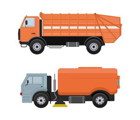 Road cleaning machine vector vehicle truck sweeper cleaner wash city streets illustration, vehicle van car excavator bulldozer tractor lorry transportation isolated on background.