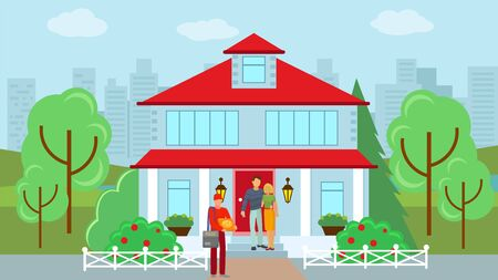 Delivery courier with pizza near home, vector illustration. Flat delivery boy character at client house, man holding order food. Package lunch for cartoon people, deliveryman with cardboard box. Ilustração