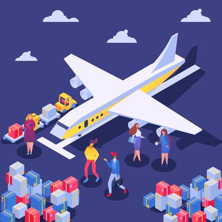 Airplane cargo delivery concept, vector illustration. Business air transportation service, load cartoon carton box to container. Flat goods fly mail, logistic freight order industry. Ilustração