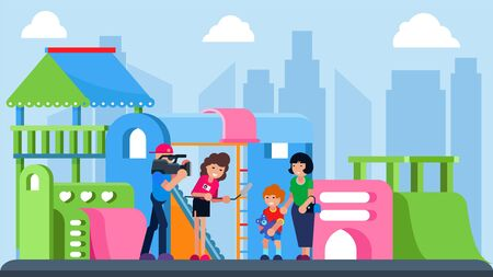 Journalist with camera interview kid at city playground, vector illustration. Video news with young cartoon boy character. Reporter hold microphone at outdoor background, professional work design. Ilustração