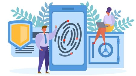 Fingerprint protection acess to smartphone concept, vector illustration. Security technology, network identity safety. Flat data privacy lock, woman man character on electronic device. 일러스트