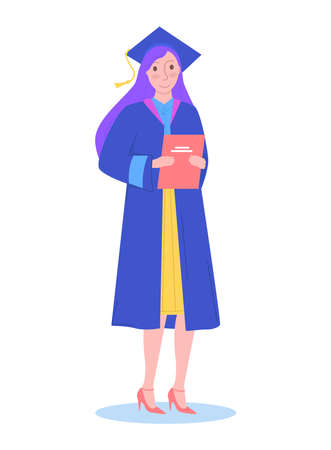 Graduation girl character, school graduation student hold diploma in hat isolated on white, flat vector illustration. Enter college or higher education institution, completion secondary education.