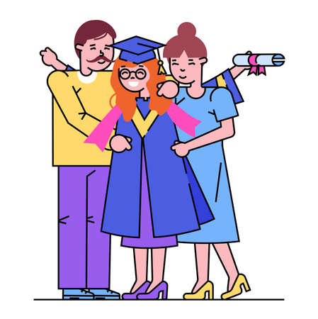 Cheerful parents male female character hug university graduation daughter student, happy friendly family isolated on white, line flat vector illustration. Higher professional education, woman hold diploma. Vectores