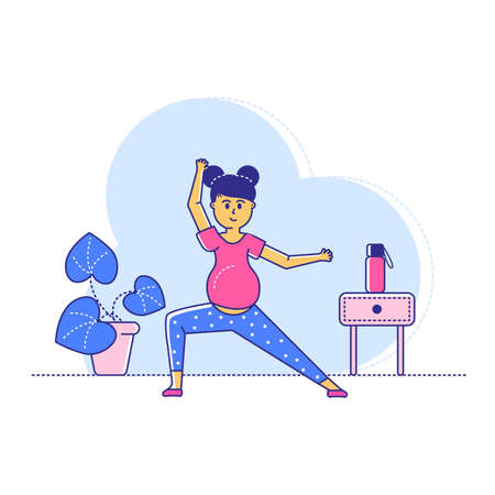 Late pregnant period yoga exercises, line woman character training sport workout isolated on white, flat vector illustration. Home active practice, female and baby health preparation.