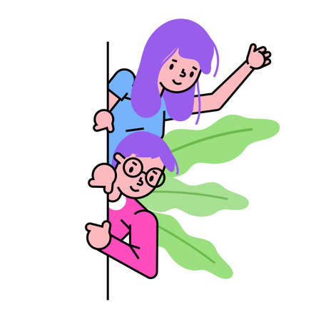 Male female character point to bottom, curious peeping down, people together indicate isolated on white, flat vector illustration. Concept wonderful cute population, leaf background. 일러스트
