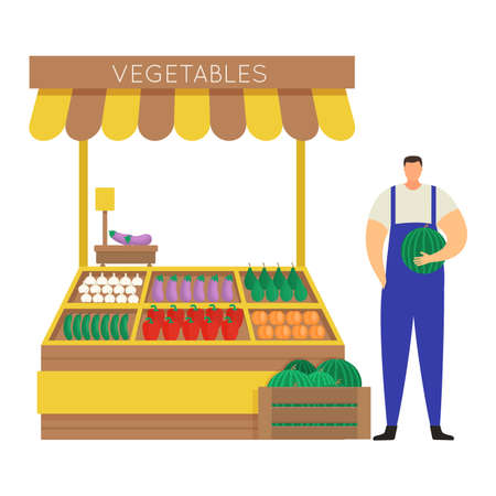 Male character farmer sell self grown vegetable, concept street market and stall isolated on white, flat vector illustration. Man hold watermelon sale harvested crop paper, squash, onion and cucumber.