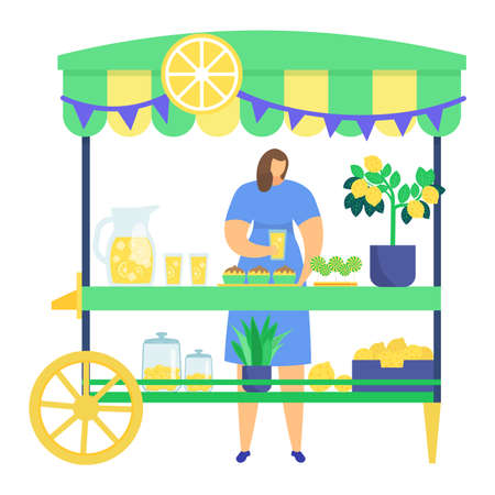 Woman character sell homemade lemonade, street market kiosk with lemon tree, self grown lime isolated on white, flat vector illustration. Decorated stall with lemon slice, farmer organic food.