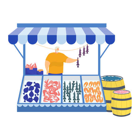 Urban street market store sell fresh fish and sea dweller, male character professional fisher trade salmon isolated on white, flat vector illustration. Barrel fish stand kiosk, sea ocean fishing.
