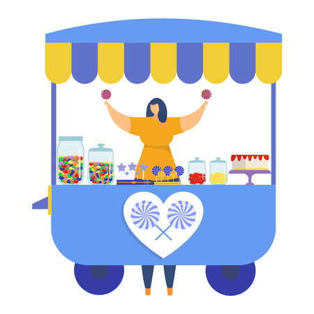 Woman character sell colorful lollipop store, street market kiosk festival fair, female trade candy isolated on white, flat vector illustration. Concept urban marketplace stall with sweet cake.