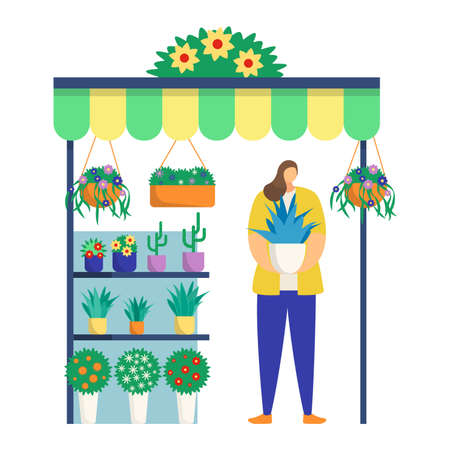 Woman character hold plants pot, female florist trade self grown flower and cactus isolated on white, flat vector illustration. Concept kiosk to sell house plant, decoration street market stall.