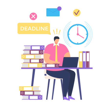 Freelancer male character sitting workplace, deadline work process, professional man help time management isolated on white, flat vector illustration. Overtime activity, night shift.