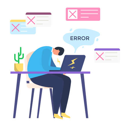 Male character office worker overtime activity, man made error business task management, isolated on white, flat vector illustration. Freelance workplace, clerk work make professional mistake. Иллюстрация