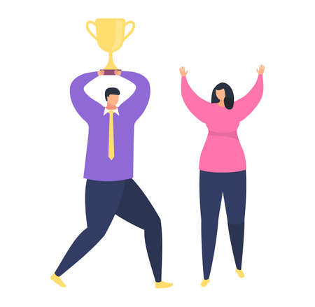 Teamwork success, male office worker hold in hand first place golden cup, female happy win isolated on white, flat vector illustration. Successful business project, victory workflow.