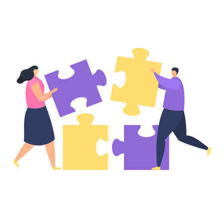 Teamwork collaboration, male female character hold business puzzle, time industry company management isolated on white, flat vector illustration. Group office worker running, build firm project.