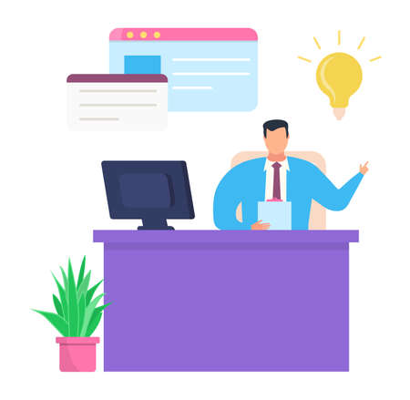 Business company leader work planning successful idea, male character chief paperwork on workplace isolated on white, flat vector illustration. Concept time management, comfortable job table.