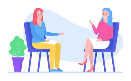Woman character psychologist support female with problem, psychotherapy help to people isolated on white, flat vector illustration. Professional counselor assistance mind recovery. 일러스트