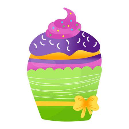 Delicious festive cupcake, celebration fruitcake holiday baking birthday party element isolated on white, flat vector illustration. Concept joyful icon, muffin pie piece cheerful mood. Ilustração