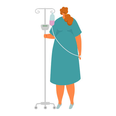 Sick female character standing in medical hospital, woman hold dropper with therapeutic drug isolated on white, cartoon vector illustration. Dangerous health condition, people clinic patient.