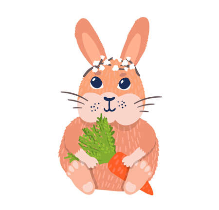 Cute rabbit character sitting hold carrot, easter bunny rest in flower tiara isolated on white, flat vector illustration. Religion floret concept holiday, springtime mood blossom flower. Stock Illustratie
