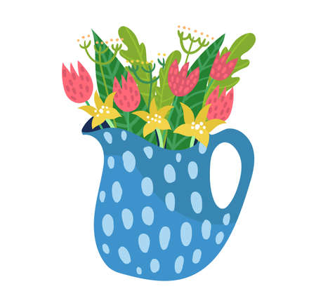 Spring ceramic jug with garden flower, springtime mood wild floret isolated on white, flat vector illustration. Design woodland peduncle in pitcher, inflorescence blossom bowl plant.