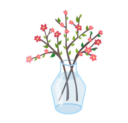 Spring glass transparent jug with twig flower, springtime mood wild floret isolated on white, flat vector illustration. Design young tree branch peduncle in pitcher, inflorescence blossom bowl. Ilustração