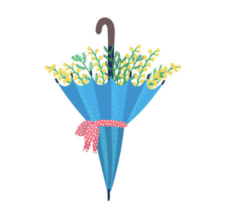 Umbrella with red ribbon garden flower springtime mood, carry parasol spring floret isolated on white, flat vector illustration. Design woodland peduncle, inflorescence blossom plant.