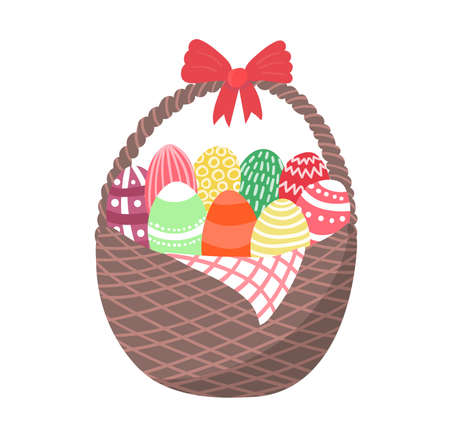Wicker basket with easter chocolate eggs, religion spring holiday isolated on white, flat vector illustration. Springtime mood concept, cart decorate red ribbon with catholic foodstuff.