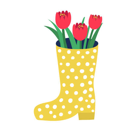 Yellow rubber boots with red garden flower springtime mood, spring rose floret isolated on white, flat vector illustration. Design woodland peduncle, inflorescence beautiful blossom plant.