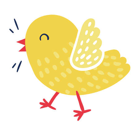 Cute domestic bird yellow joyful cheerful chick character, little bird tweet isolated on white, flat vector illustration. Springtime born new life, spring brood chicken poultry icon.