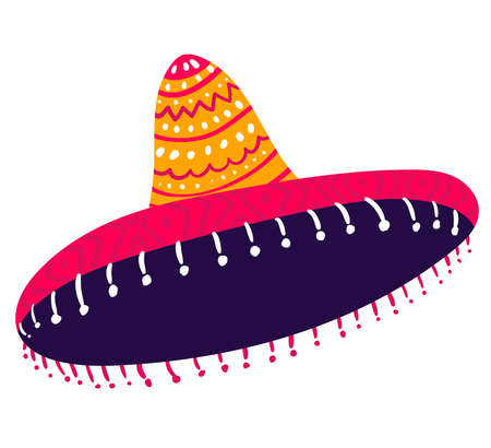 Mexican typical sombrero hat for head, cap mexico concept traditional costume icon isolated on white, flat vector illustration. Decoration headgear festive clothing, north america country.