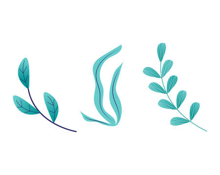 Bright rich grass spring blossom grow up isolated on white, cartoon vector illustration. Green leaf on peduncle stem, fall different weed. Herb plants gradient green color, organic outdoor.